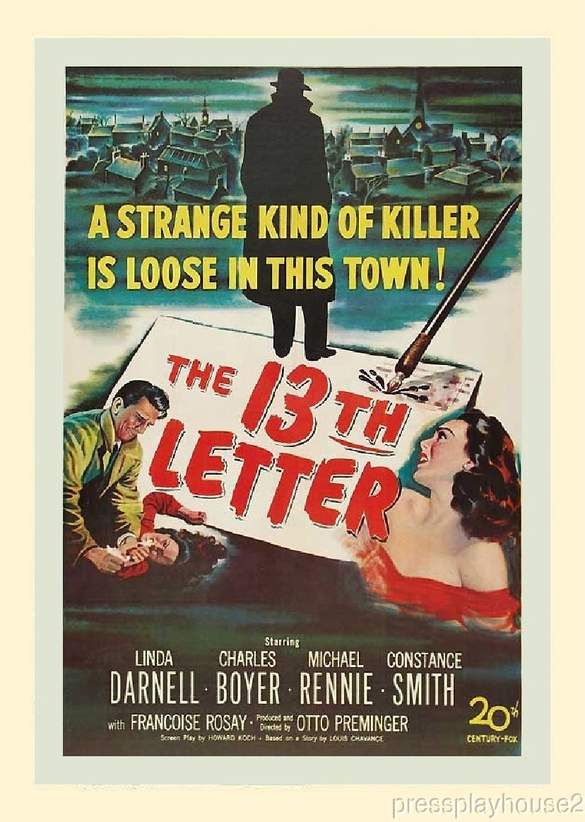 The 13th Letter: DVD, 1951, Linda Darnell, Charles Boyer, Michael Rennie, Rare Film Noir product photo