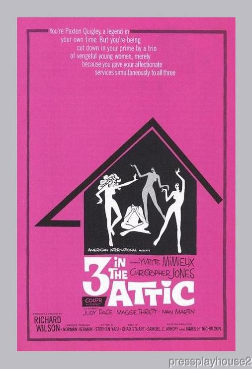 Three In The Attic: DVD, 1968, Yvette Mimieux, Christopher Jones, Free Love Comedy Classic, Widescreen product photo