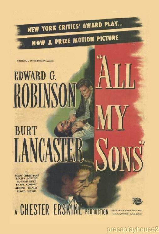 All My Sons: DVD, 1948, Edward G. Robinson, Burt Lancaster, Howard Duff, Harry Morgan product photo