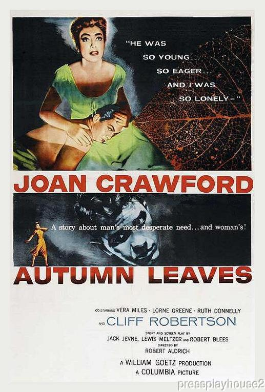 Autumn Leaves: DVD, 1956, Joan Crawford, Cliff Robertson, Lorne Greene, Vera Miles, Widescreen product photo