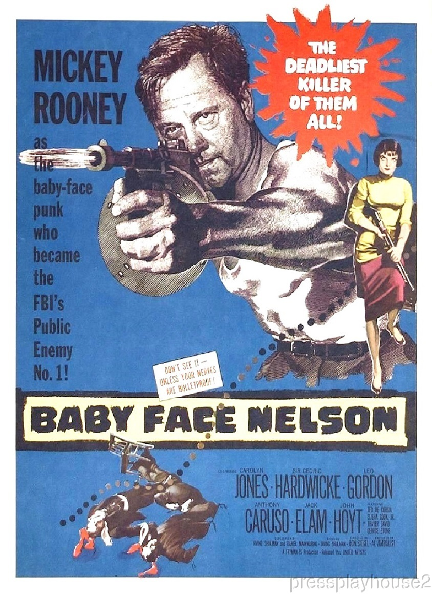 Baby Face Nelson: DVD, 1957, Mickey Rooney, Carolyn Jones, John Hoyt, Crime Bio Gem!! product photo