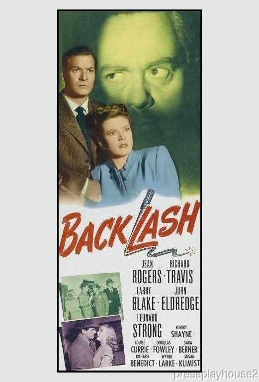 Backlash: DVD, 1947, Jean Rogers, Richard Travis, Richard Benedict, Rare Film Noir product photo