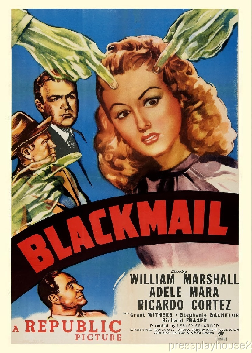 Blackmail: DVD, 1947, William Marshall, Adele Mara, Ricardo Cortez, Rare Film Noir product photo