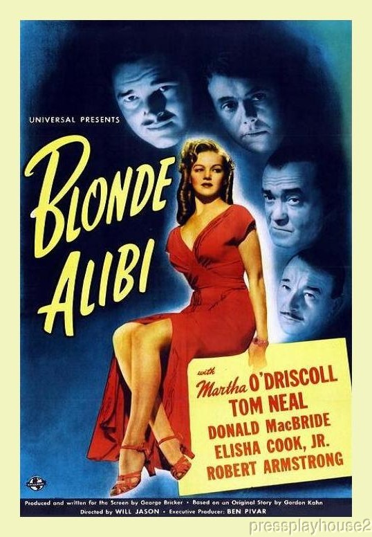 Blonde Alibi: DVD, 1946, Martha O'Driscoll, Elisha Cook, Robert Armstrong, Hard-To-Find Film Noir Crime product photo
