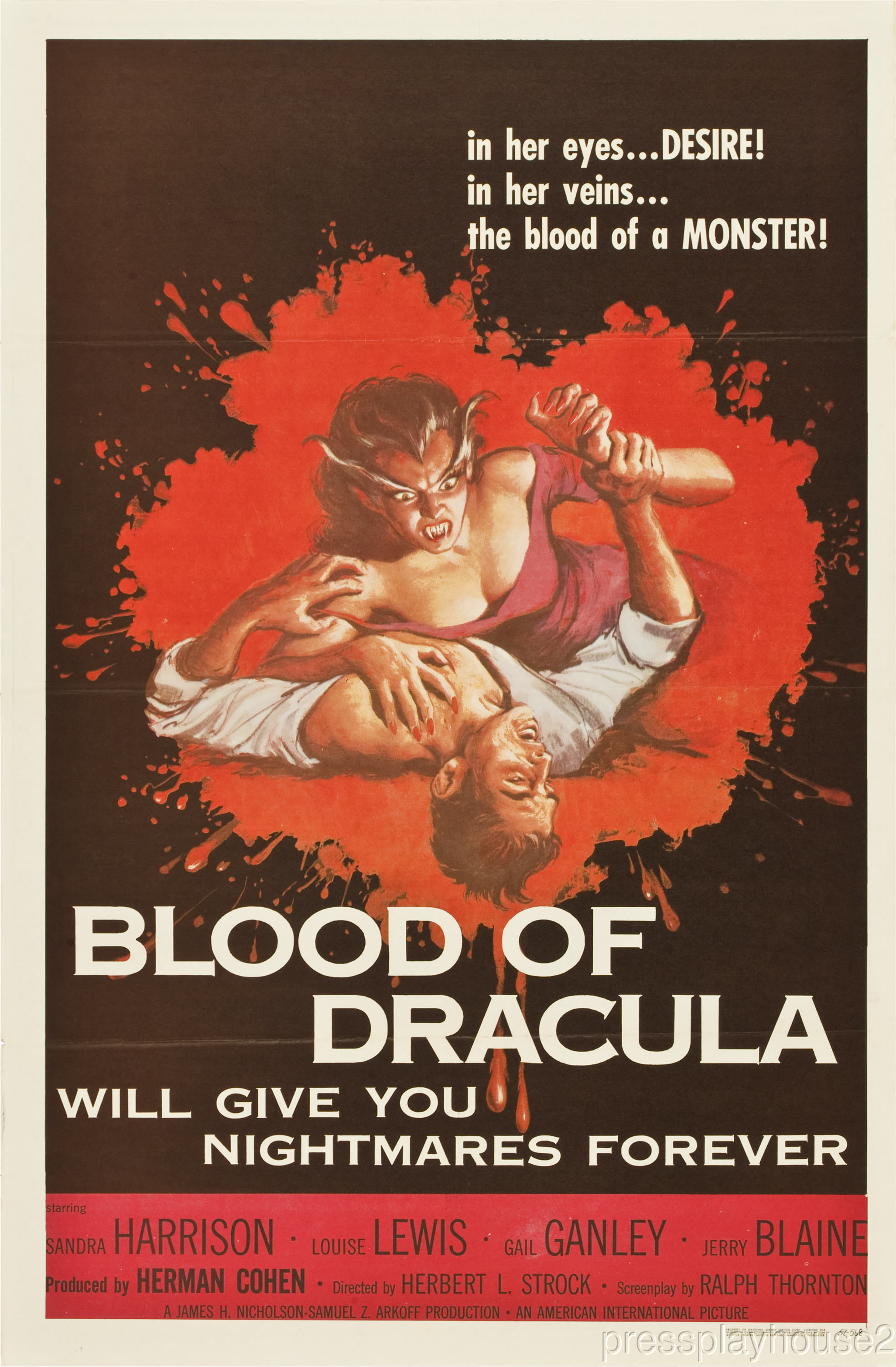 Blood of Dracula: DVD, 1957, Sandra Harrison, Powerful 50s Teen Horror Gem! product photo