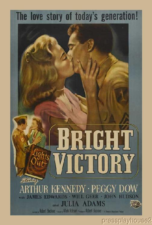 Bright Victory: DVD, 1951, Arthur Kennedy, Julie Adams, Richard Egan, Rare Melodrama Classic! product photo