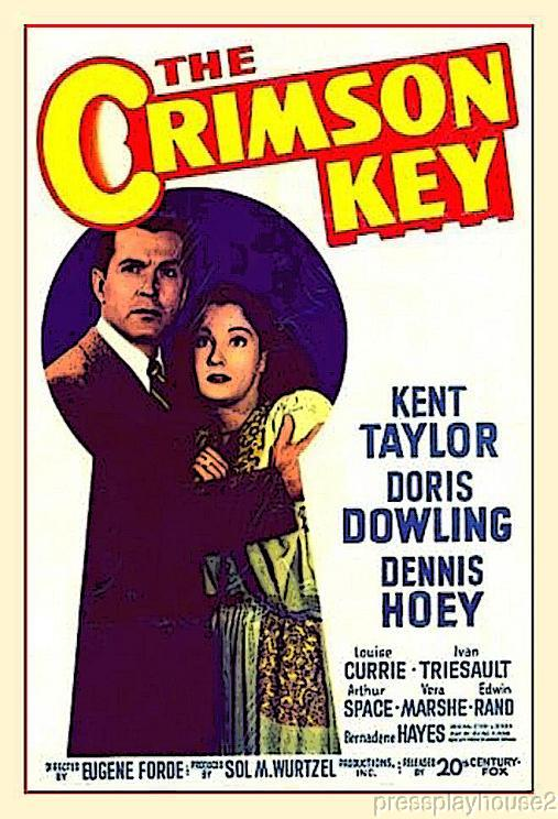 The Crimson Key: DVD, 1947, Kent Taylor, Doris Dowling, Arthur Space, Rare Mystery Thriller product photo