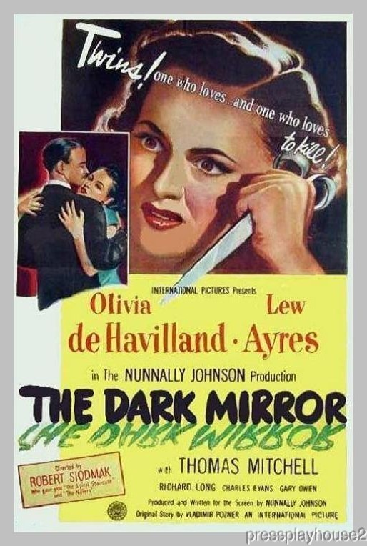 The Dark Mirror: DVD, 1946, Olivia De Havilland, Richard Long, Lew Ayers, Film Noir Thriller product photo