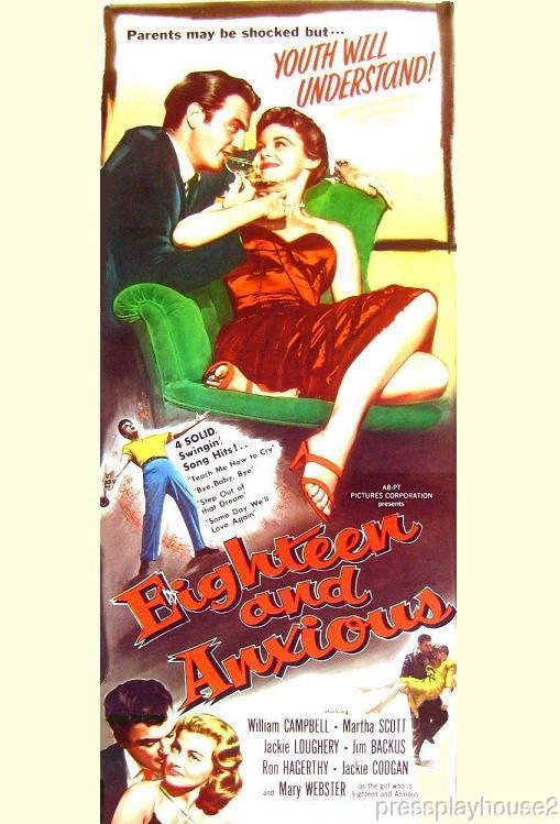Eighteen & Anxious: DVD, 1957, William Campbell, Mary Webster, Rarely Seen 50s Teen Exploitation product photo
