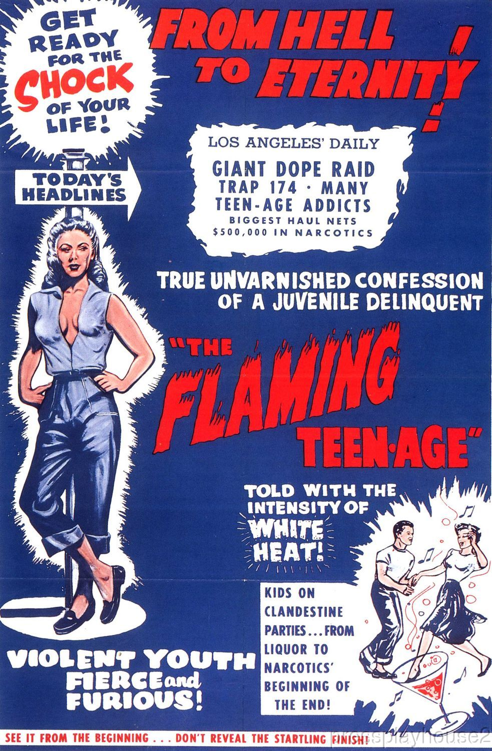 The Flaming Teenage: DVD, 1956, Teens On Drugs Exploitation Film product photo