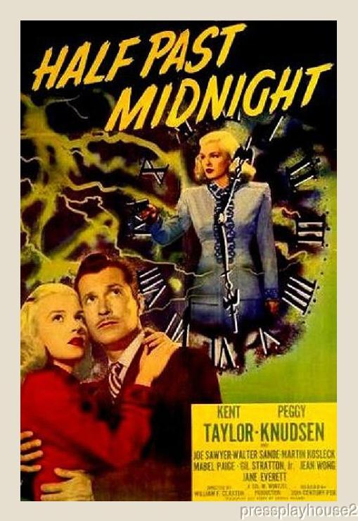 Half Past Midnight: DVD, 1948, Kent Taylor, Peggy Knudsen, Obscure 40s Crime product photo