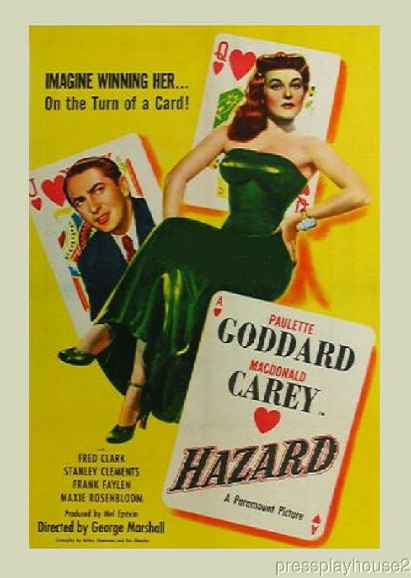 Hazard: DVD, 1948, Macdonald Carey, Paulette Goddard, Percy Helton, Rarely Seen Comedy Melodrama ! product photo