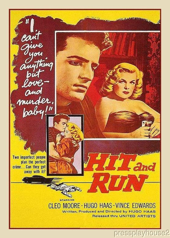 Hit and Run: DVD, 1957, Vince Edwards, Cleo Moore, Hugo Haas, Entertaining Crime Film Rarity product photo