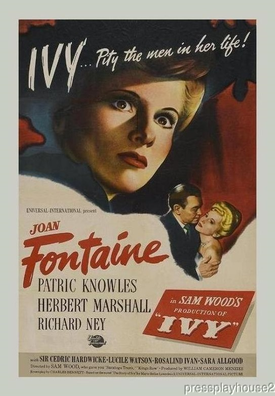 Ivy: DVD, 1947, Joan Fontaine, Herbert Marshall, Classic Crime Thriller product photo