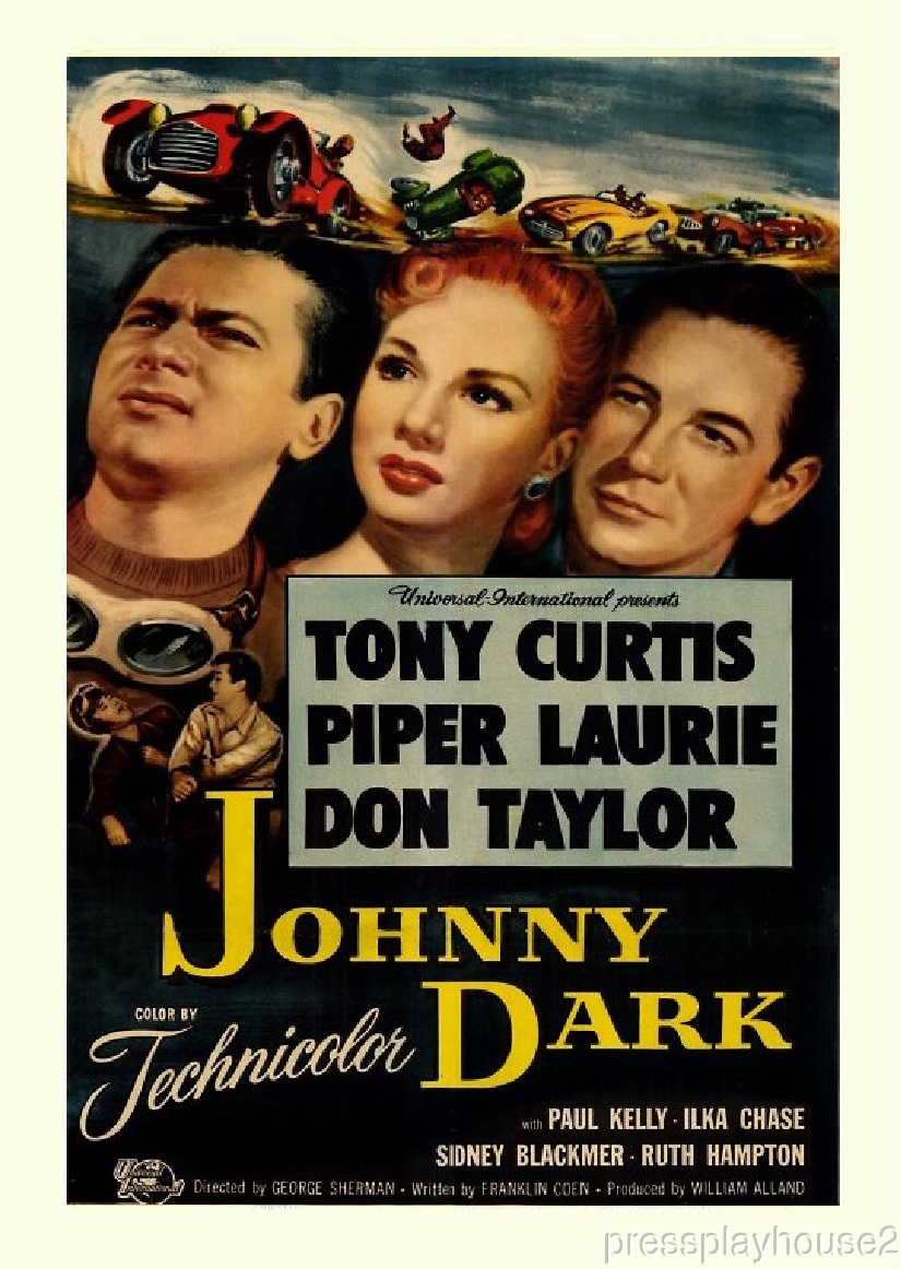 Johnny Dark: DVD, 1954, Tony Curtis, Piper Laurie, Rarely Seen Race Car Action Melodrama product photo