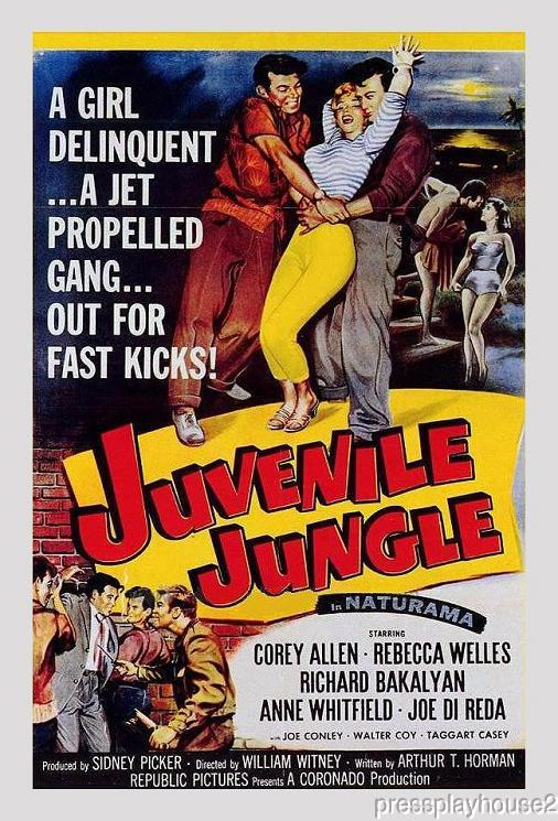 Juvenile Jungle: DVD, 1958, Corey Allen, Richard Bakalyan, Rebecca Welles, Rare 50s Juvenile Delinquent Gem! product photo