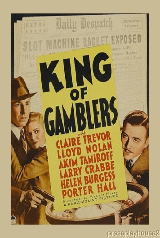 King of Gamblers: DVD, 1937, Lloyd Nolan, Claire Trevor, Buster Crabbe, Rarely Seen 30s Crime product photo