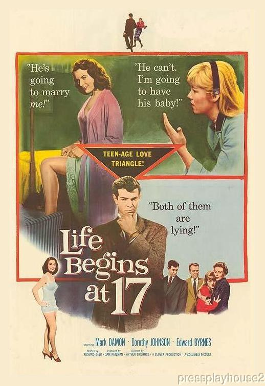 Life Begins At 17: DVD, 1958, Edd 'Kookie' Byrnes, Mark Damon, Luana Anders, Rarely Seen 50s Teen product photo