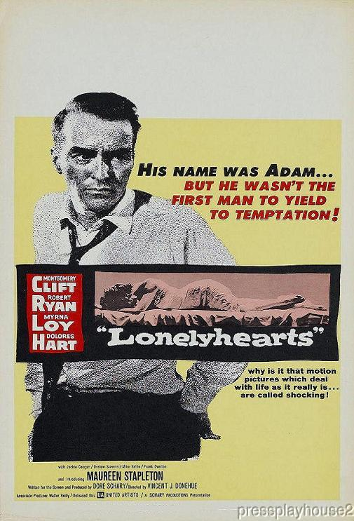 Lonelyhearts: DVD, 1958, Montgomery Clift, Dolores Hart, Robert Ryan, Stirring Melodrama product photo