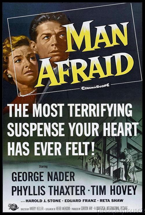 Man Afraid: DVD, 1957, George Nader, Martin Milner, Phyllis Thaxter, Rarely Seen 50s Melodrama product photo