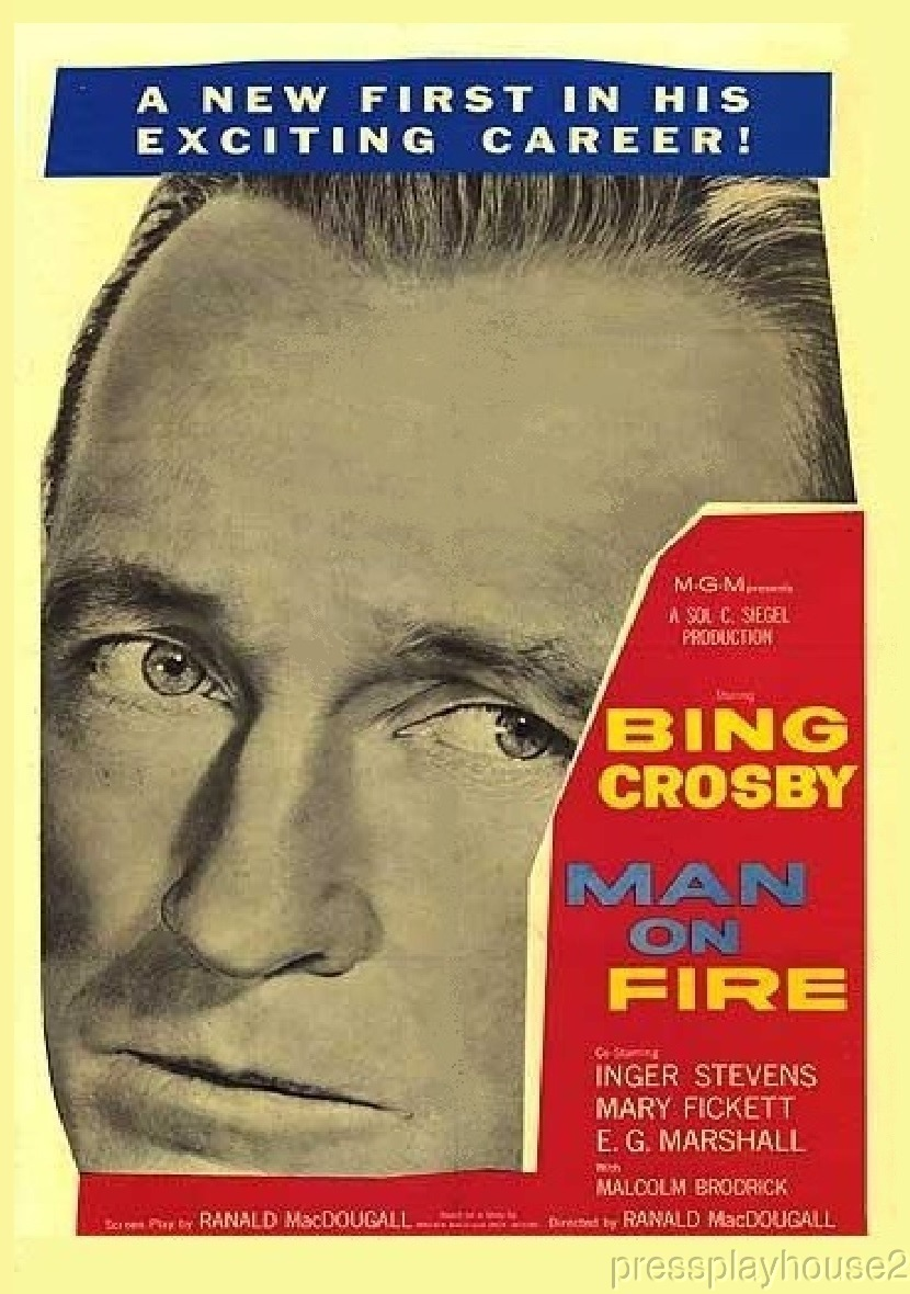 Man On Fire: DVD, 1957, Bing Crosby, Inger Stevens, E.G. Marshall, Rarely Seen Melodrama product photo