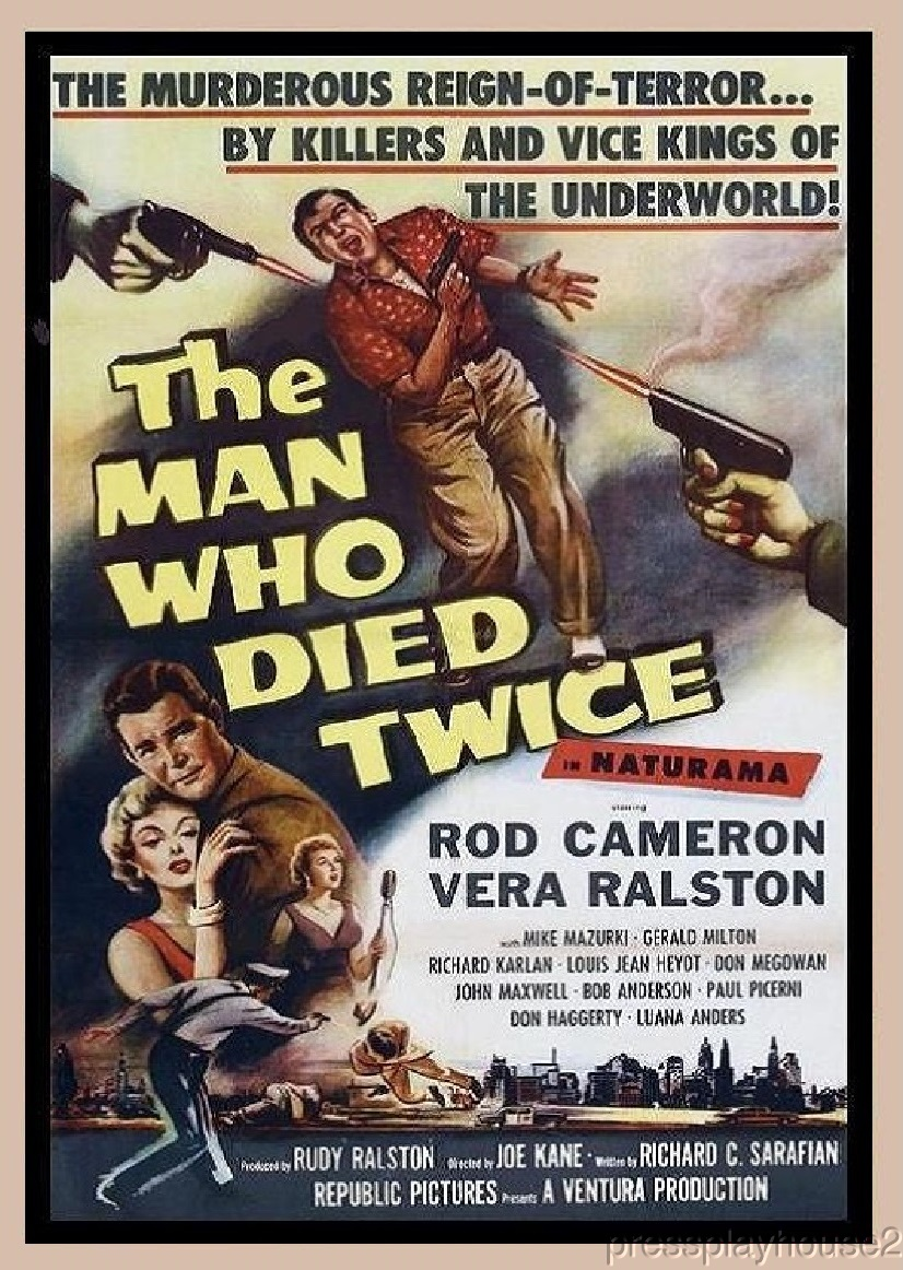 The Man Who Died Twice: DVD, 1958, Rod Cameron, Vera Ralston, Rarely Seen 50s Crime product photo