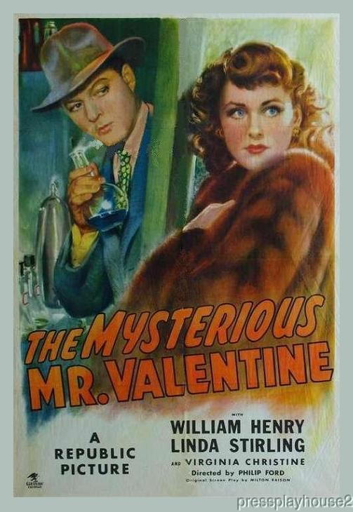 The Mysterious Mr.Valentine: DVD, 1946, Keene Duncan, William Henry, Linda Stirling, Virginia Christine, Obscure Crime Gem product photo