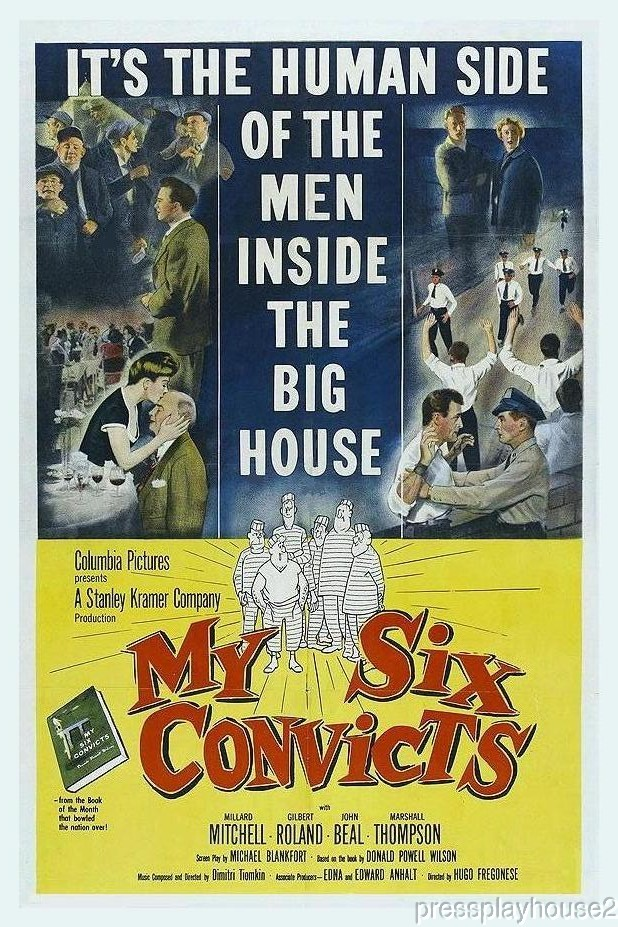 My Six Convicts: DVD, 1952, Marshall Thompson, Harry Morgan, Millard Mitchell, Gilbert Roland, Heart-warming Prison Gem! product photo
