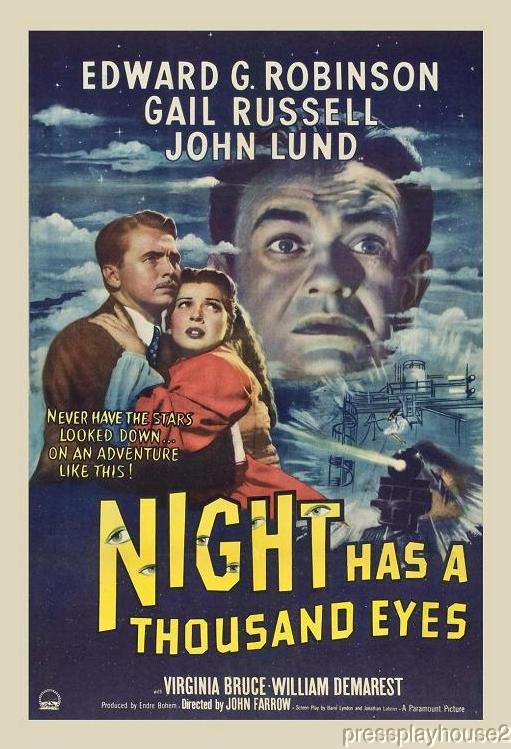 Night Has A Thousand Eyes: DVD, 1948, Edward G. Robinson, Gail Russell, John Lund, Classic Film Noir product photo