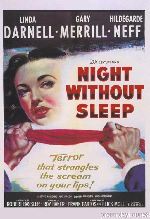 Night Without Sleep: DVD, 1952, Gary Merrill, Linda Darnell, Hugh Beaumont, Rare 50s Crime product photo