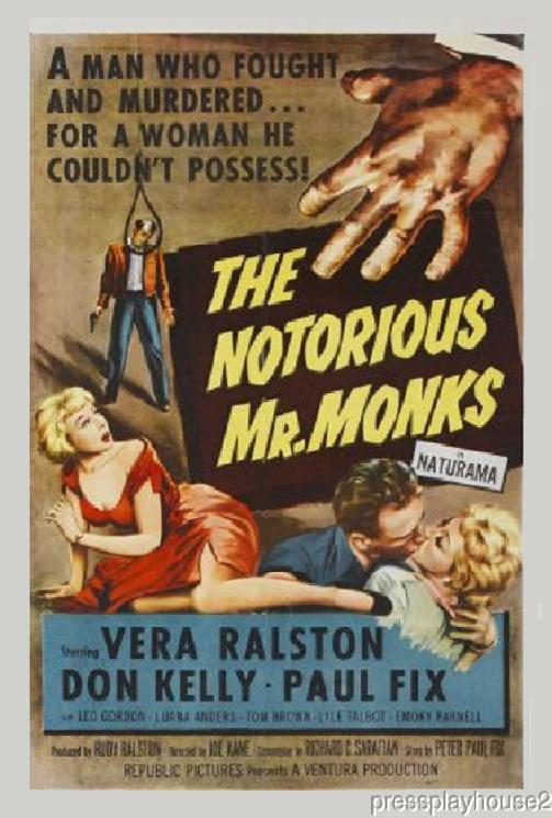 The Notorious Mr. Monks: DVD, 1958, Vera Ralston, Leo Gordon, Luana Anders product photo
