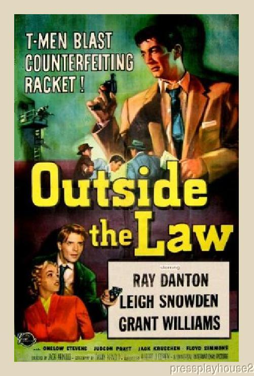 Outside The Law: DVD, 1956, Ray Danton, Leigh Snowden, Rarely Seen 50s Film Noir product photo