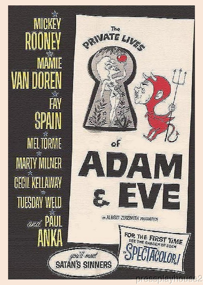 Private Lives of Adam & Eve: DVD, 1960, Mamie Van Doren, Mickey Rooney, Martin Milner, Tuesday Weld, Paul Anka, Fay Spain, Mel Torme product photo