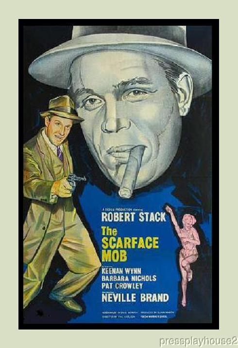 The Scarface Mob: DVD, 1958, Robert Stack, Barbara Nichols, Neville Brand, Pat Crowley, Keenam Wynn, Scarce 50s Crime Noir product photo