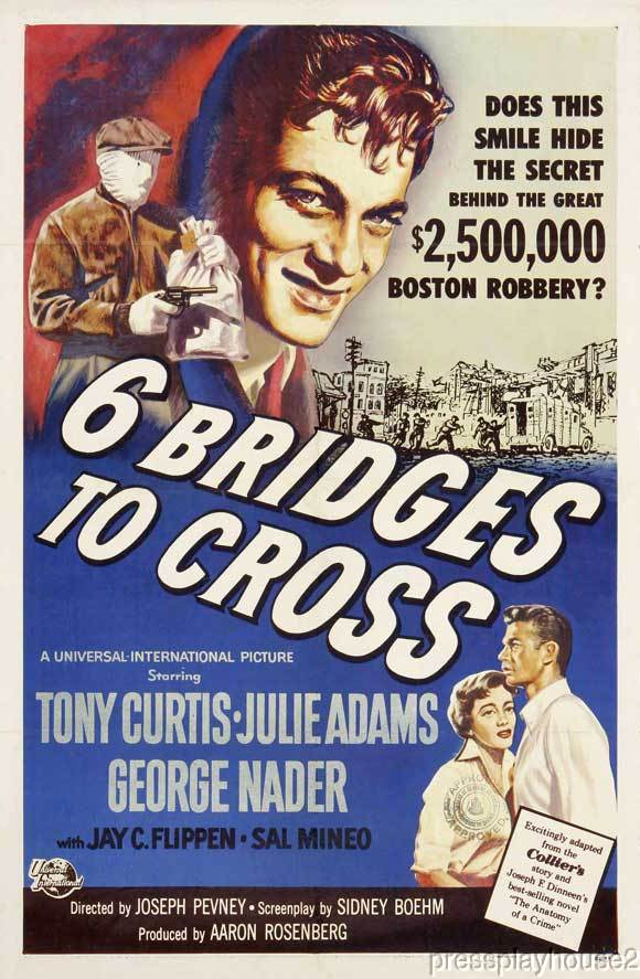 Six Bridges To Cross: DVD, 1955, Sal Mineo, Tony Curtis, George Nader, Julie Adams product photo