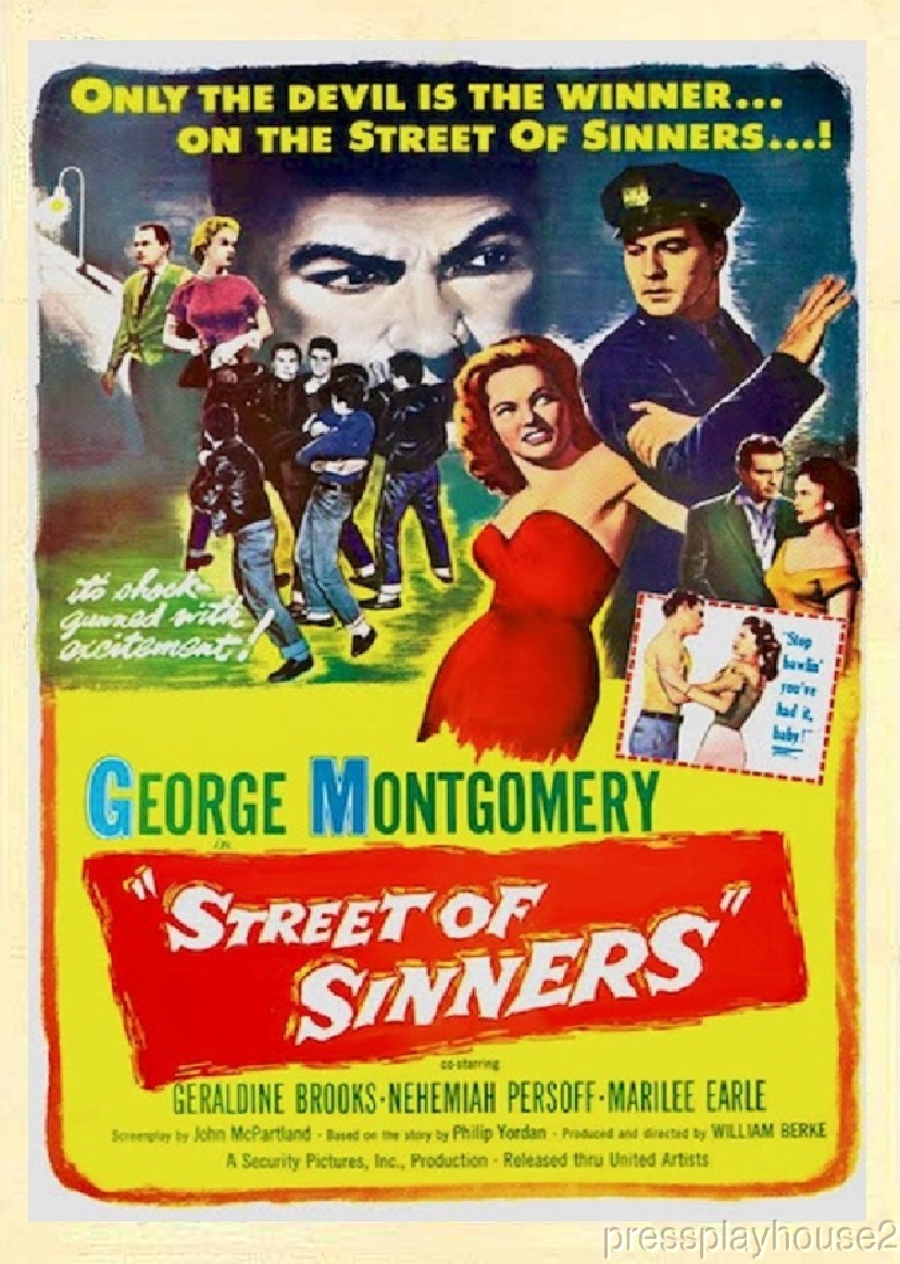 Street of Sinners: DVD, 1957, Geraldine Brooks, George Montgomery, Nehemiah Persoff, Highly Entertaining Crime product photo