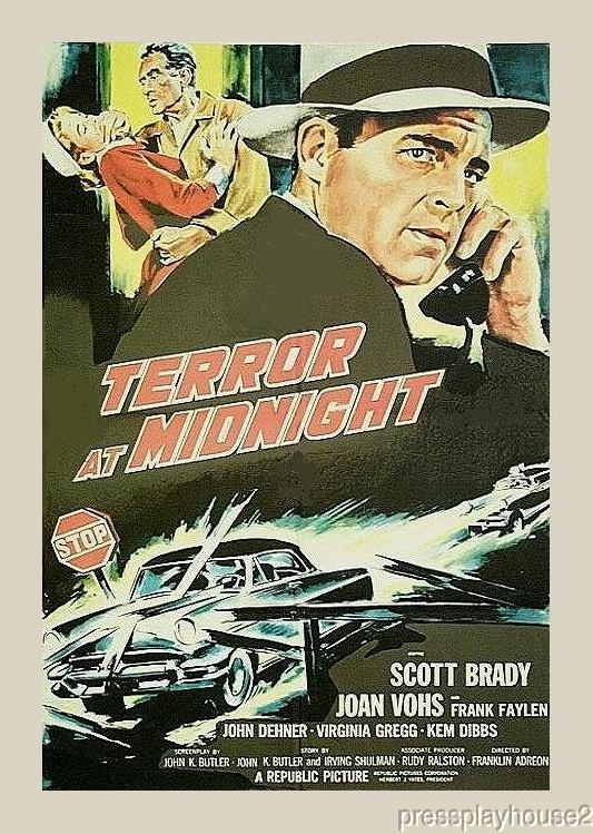 Terror At Midnight: DVD, 1956, Scott Brady, Percy Helton, Frank Faylen, Joan Vohs, Great Low Budget 50s Film Noir product photo
