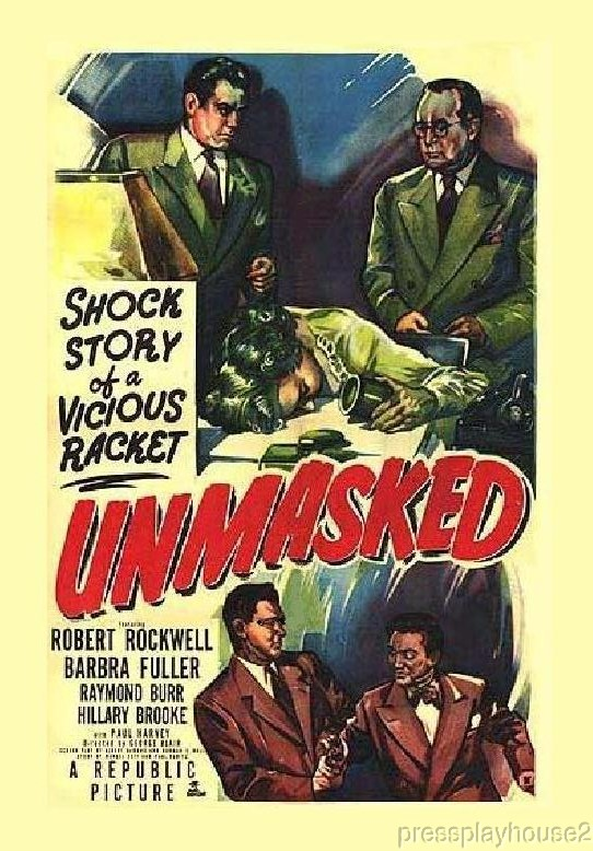 Unmasked: DVD, 1950, Raymond Burr, Robert Rockwell, Rare 50s Crime Mystery! product photo