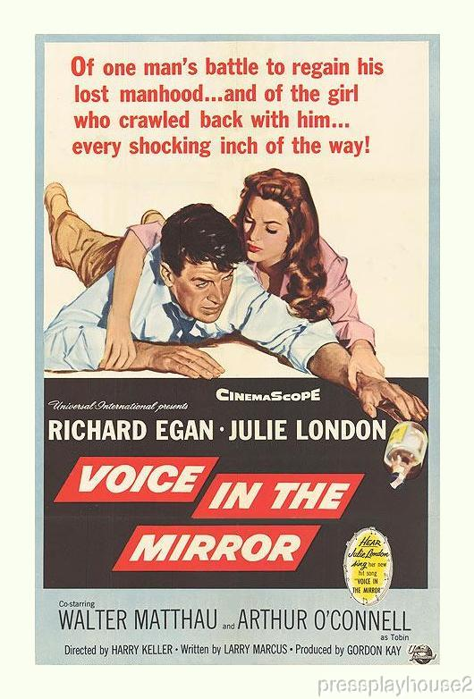 Voice In The Mirror: DVD, 1958, Julie London, Richard Egan, Walter Matthau, Powerful Melodrama, Widescreen product photo
