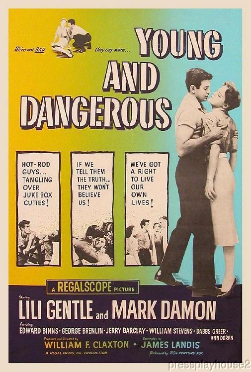 Young and Dangerous: DVD, 1957, Mark Damon, Lili Gentle, Connie Stevens, Rare 50s Teen Gang product photo